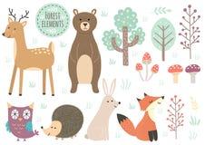 Grupo do vetor de elementos bonitos da floresta Imagem de Stock