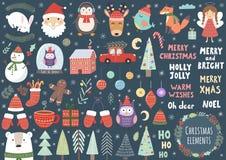 Grupo do vetor de elementos bonitos do Natal Foto de Stock