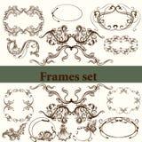 Grupo do vetor de elementos caligráficos para o projeto calligraphic ilustração royalty free