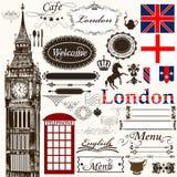 Elementos do projeto e tema caligráficos de Londres das decorações da página Imagens de Stock Royalty Free