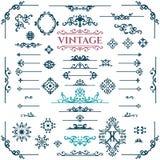 Grupo do vetor de elementos caligráficos do projeto do vintage Imagem de Stock Royalty Free