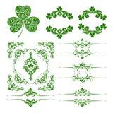 Grupo do vetor de elementos decorativos decorativos da decoração da página do dia de St Patrick Fotos de Stock