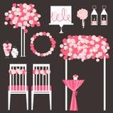 Grupo do vetor de elementos decorativos do casamento Foto de Stock Royalty Free
