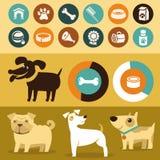 Grupo do vetor de elementos do infographics - cães Imagens de Stock Royalty Free