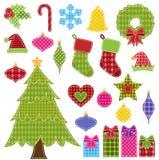 Grupo do vetor de elementos do Natal dos retalhos Fotografia de Stock