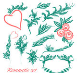 Grupo do vetor de elementos do vintage no estilo romântico Fotos de Stock Royalty Free