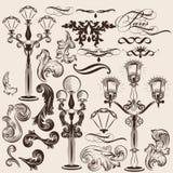 Grupo do vetor de elementos e de luzes de rua decorativos caligráficos ilustração royalty free