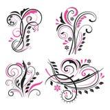 Grupo do vetor de elementos florais de roda decorativos Imagens de Stock Royalty Free