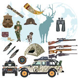 Grupo do vetor de elementos lisos do projeto do estilo dos cervos da caça Fotos de Stock Royalty Free