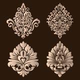 Grupo do vetor de elementos do Ornamental do damasco Elementos abstratos florais elegantes para o projeto Aperfeiçoe para convite Fotografia de Stock
