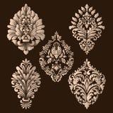 Grupo do vetor de elementos do Ornamental do damasco Elementos abstratos florais elegantes para o projeto Aperfeiçoe para convite Foto de Stock