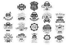 Grupo do vetor de emblemas do carro do vintage com rotulação da mão Etiquetas à moda do monochrome Projeto tipográfico para a rep ilustração do vetor