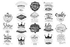 Grupo do vetor de emblemas monocromáticos para o boutique da forma ou a loja feito a mão da roupa Etiquetas do vintage Projeto pa ilustração do vetor
