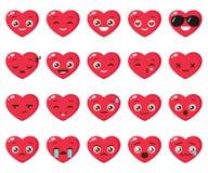 Grupo do vetor de emoji diferente do coração ilustração stock