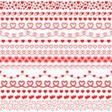 Grupo do vetor de escovas com os corações para criar quadros e beiras ro ilustração stock