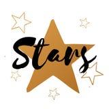 Grupo do vetor de estrelas com texto preto Imagens de Stock