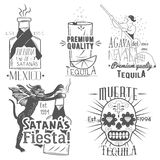 Grupo do vetor de etiquetas do tequila no estilo do vintage Bebida mexicana do álcool, berida Elementos tirados mão do projeto do Imagem de Stock