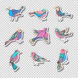 Grupo do vetor de etiquetas pegajosas retros com pássaros Fotografia de Stock Royalty Free