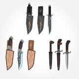 Grupo do vetor de facas de caça e da bainha de couro, projeto liso do estilo Imagens de Stock Royalty Free