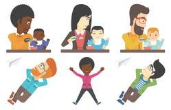 Grupo do vetor de famílias e de caráteres do negócio ilustração stock