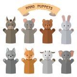 Grupo do vetor de fantoches de mão no estilo liso Luvas da boneca com animais diferentes ilustração royalty free