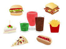 Grupo do vetor de fast food colorido dos desenhos animados Imagens de Stock