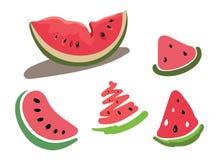 Grupo do vetor de fatias de melancia Desenhar à mão Coleção de frutos do verão Arte ilustração stock