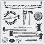Grupo do vetor de ferramentas da carpintaria do vintage Machados e serras Fotografia de Stock