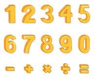Grupo do vetor de figuras do ouro dos desenhos animados e de sinais matemáticos ilustração stock