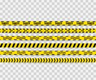 Grupo do vetor de fitas sem emenda do cuidado Fita de advertência, fita do perigo, fita do cuidado, fita do perigo, sob a fita da ilustração do vetor