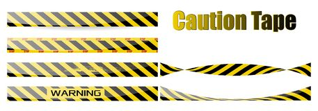 Grupo do vetor de fitas sem emenda Para a limitação e zonas perigosas Amarelo e preto EPS10 ilustração do vetor