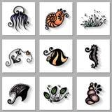 Grupo do vetor de flora e de fauna do mar com sombra longa Fotografia de Stock Royalty Free