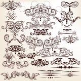 Grupo do vetor de flourishes decorativos para o projeto no estilo do vintage ilustração do vetor