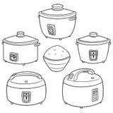 Grupo do vetor de fogões de arroz ilustração do vetor