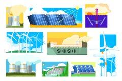 Grupo do vetor de fontes de energia alternativas Ind?stria da produ??o de eletricidade Solar, vento, hidroel?tricos, nucleares e ilustração royalty free
