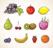 Grupo do vetor de frutos e de bagas Foto de Stock Royalty Free