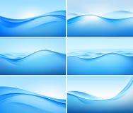 Grupo do vetor de fundos azuis abstratos da onda Fotos de Stock Royalty Free
