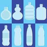 Grupo do vetor de garrafa de água Fotos de Stock Royalty Free