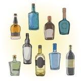 Grupo do vetor de garrafas com álcool, teste padrão sem emenda Fotos de Stock Royalty Free