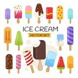 Grupo do vetor de gelado dos desenhos animados ilustração stock