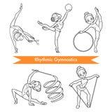 Grupo do vetor de ginástica rítmica Meninas dos desenhos animados ilustração stock
