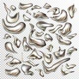 Grupo do vetor de gotas abstratas do metal líquido ilustração stock
