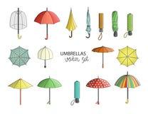 Grupo do vetor de guarda-chuvas coloridos ilustração royalty free