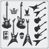 Grupo do vetor de guitarra Projeto preto e branco Fotografia de Stock Royalty Free