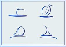 Grupo do vetor de iate dos símbolos, navios ilustração stock