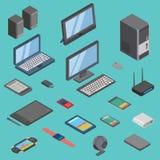 Grupo do vetor de ilustração isométrica de uma comunicação móvel 3d das tecnologias sem fios dos ícones dos dispositivos do dispo ilustração royalty free