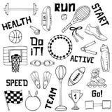 Grupo do vetor de ilustrações do esporte Linha arte ilustração royalty free