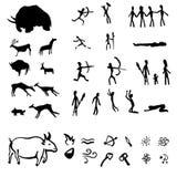 Grupo do vetor de ilustrações pretas dos desenhos da caverna no fundo branco ilustração stock