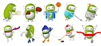 Grupo do vetor de ilustrações verdes do esporte dos robôs ilustração royalty free