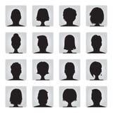 Grupo do vetor de ilustrações coloridas do perfil de usuário Foto de Stock